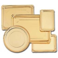 Bandejas rectangulares de cartón oro
