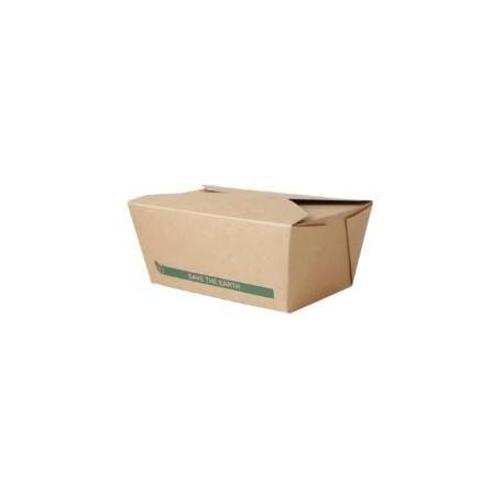 CAJA CARTON KRAFT RECTANGULAR TAKE AWAY 750 ml. Pack 50 Uds.