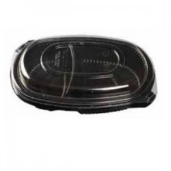 TARRINA PP NEGRA 2 COMPARTIMENTOS TAPA OPS 1200cc. Pack 50 Uds.