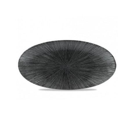AGANO BLACK FUENTE OVAL 34,7x17,3 Cms. Caja 6 Uds.