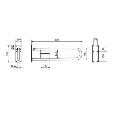 BARRA ABATIBLE 840mm. INOX SATINADA