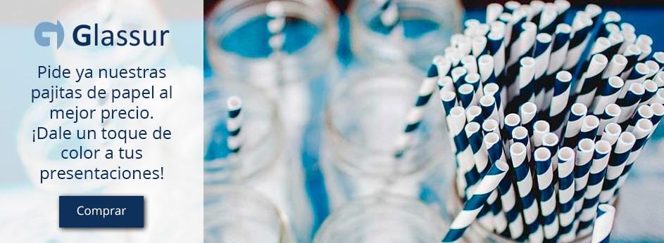 Pajitas de papel rayas azul